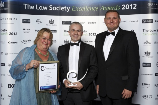 Paul receiving his award and certificate from Law Society President Lucy Scott-Moncrieff (pictured above left) and Colin Wallace of Hiscox (pictured above right) who had kindly sponsored Paul's award.